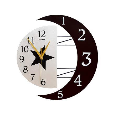YVX Reloj de Pared de Madera silencioso sin tictac de Estrella y Luna, para el hogar, Dormitorio, Sala de Estar, decoración de Oficina, decoración de Pared