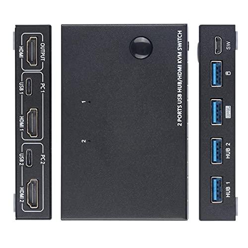 Aznever KVM Switch, 2 In 1 Out Umschalter Aktie Monitor Maus Tastatur HDMI Switcher 4K @ 30Hz für Laptop, PC, für PS4, für Xbox, Kann Mit USB HUB Funktion, Aktualisieren Sie die Externe Schaltertaste