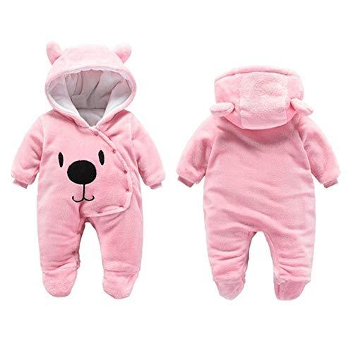 Baby Winter Fleece Overall Jumpsuit Neugeborenes Mädchen Junge Niedlich Bär Strampler Schneeanzug Outfits Spielanzug mit Kapuze Footies Rosa 59