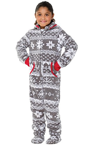 PajamaGram Cozy Footed Pajamas Kids - Soft Fleece Girls Footed Pajamas, Gray,...