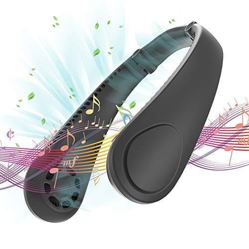 Ventilador de Cuello sin Aspas, Ventilador de cuello colgante con Función Bluetooth Manos Libres 3 Velocidades USB Recargable con Doble Viento Cabeza (negro)