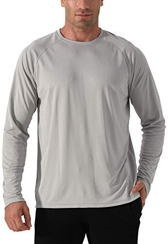 Herren Rash Guards UV Schutz Funktionsshirt Leisre Shirt Sonnenschutzhemd Outdoor Langarm Shirt Schnelltrocknend Atmungsaktiv Wandershirt Herren Surf Laufen Angeln Wandern Shirts Grau Grey