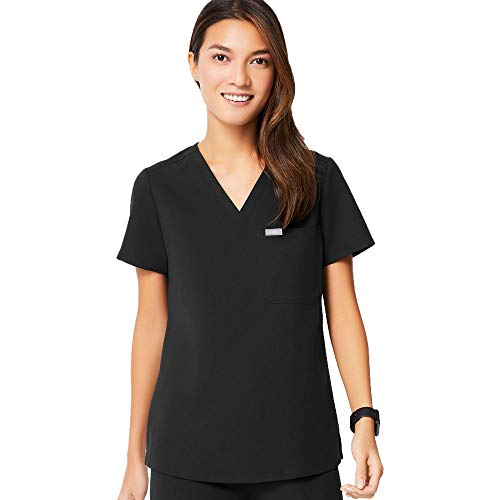 FIGS Medical Scrubs Women's Catarina one-Pocket Scrub top (Black, S)
