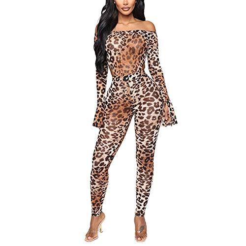 Geagodelia Leopard Bodysuit Damen 2PCS Outfits Bodycon Jumpsuit Damen Strampler für Frauen Party Clubwear Streetwear (Braun, M)