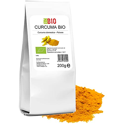 Curcuma in polvere Bio macinata fine 200 g 100% Naturale Vegan Gluten free - Cucina salutare Tisane - LaborBio