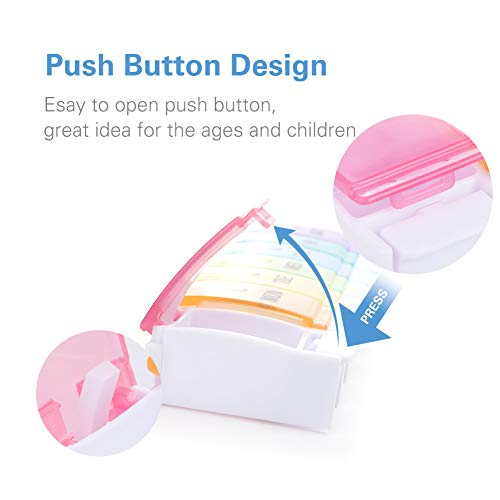 BUG HULL Pill Organizer 2 Times a Day, Arthritis Friendly Twice a Day Weekly Pill Box with Push Open Button, 7 Day AM PM Med Case, Supplement Organizer for Vitamins Fish Oils