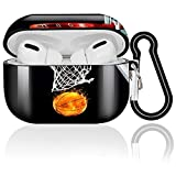AirPods Pro Case Basketball Fire Protective Hard AirPods Pro Case Cover Portable & Shockproof with Keychain Compatible with Apple AirPods Pro Charging Cases