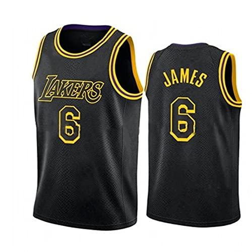 TINKOU Camiseta de la NBA Caliente, Chaleco Swingman de Baloncesto Transpirable sin Mangas Retro, Camiseta Deportiva de Baloncesto Lakers 6#, Black-M