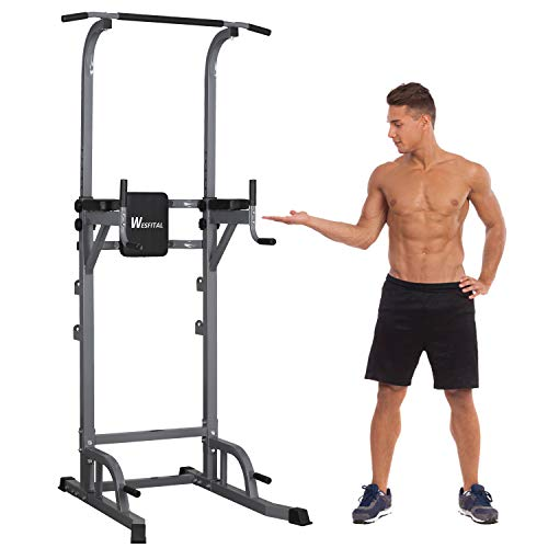 Wesfital Power Tower Dip Stands, Pull-Up Bars Bench Rack Strength Training Workout Equipment for Fitness Home Gyms