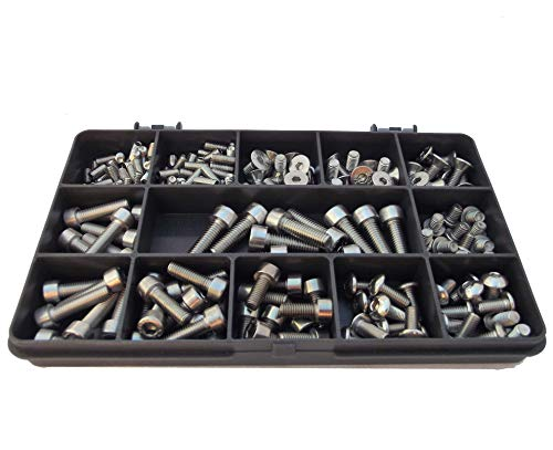206 Assorted Allen Socket Screws for Bikes, M4, M5 & M6, A2-70 Stainless Steel