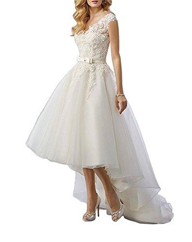 YASIOU Hochzeitskleid Tüll Damen Standesamt Weiß Hinten Lang Vorne Kurz Prinzessin A Linie Spitze mit Schleppe