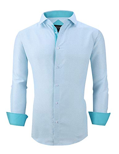 Damipow Mens Printed Dress Shirts Long Sleeve Regular Fit Wrinkle Free Casual Button Down Shirt(Turquoise1670,Large)
