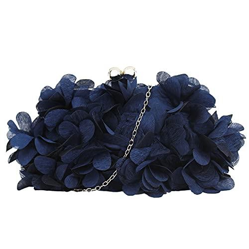 Milya Bolso de mano para mujer con diseño de flores, elegante bolso de novia, boda, fiesta, bolso de noche, bolso con cadena Kiss Lock, A-azul., 24*4*13cm