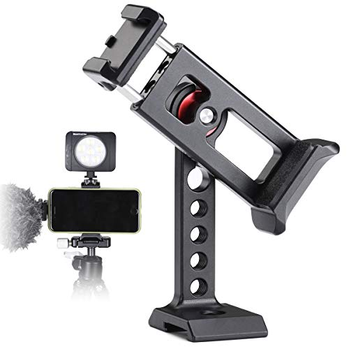 Phone Holder for Tripod Mount,Cold Shoe for MIC and Light Attach, Arca/RRS QR Plate,1/4'' Screw Mount Cell Phone Bracket,360 Degree Rotatable,iPhone Video Clip Cage