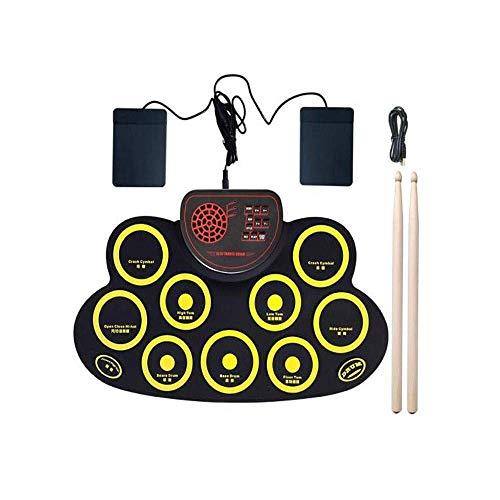 Tragbare elektronische Trommel, Anfänger Kindertrommeln Erste Schritte Üben des Spielens von Jazz-Trommeln Musikinstrumente Kinder Geburtstagsgeschenk 0316 (Farbe: B (Gelb))