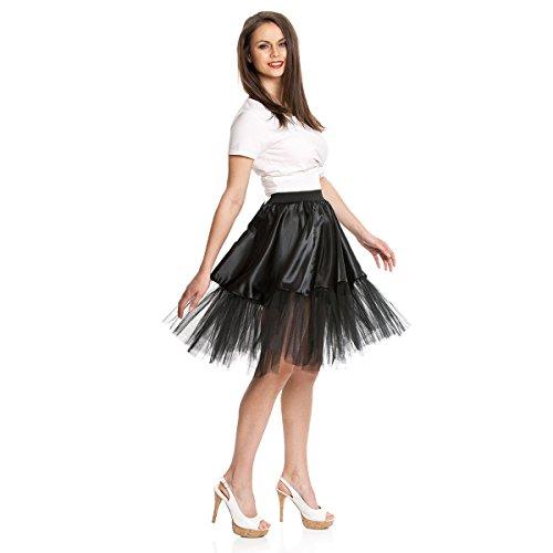 Kostümplanet® Petticoat schwarz mit Gummiband und Tüll Tutu Petti Coat Unterrock schwarzer Petticoat - 4
