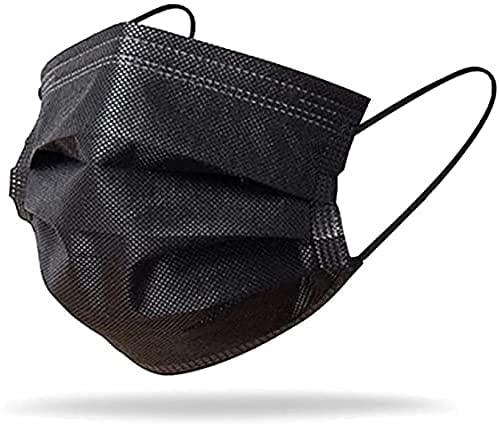 50 Mascherine CHIRURGICHE Certificate CE Tipo IIR BFE ³ 98% - Dispositivo di protezione Monouso con elastici e nasello regolabile DISPOSITIVO MEDICO 2R Ministero della Salute (Nero)