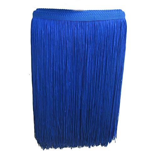 Yalulu 10 Meter Länge 30cm Breite Quaste Schnittfranse Fransen Geschnitten Fransenborte DIY Trimmen Kostüm Lateinisches Kleid Garment Apparel Spitzenborte Nähzubehör (Edelstein-Blau)