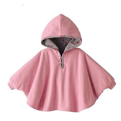 ZUMUii Butterme Netter Baby Winter warme Beiderseitige Wear Kapuze Cape Umhang Poncho Mantel für Kinder Kleinkind Baby Mädchen Jungen, Rosa, 1-3 Jahre