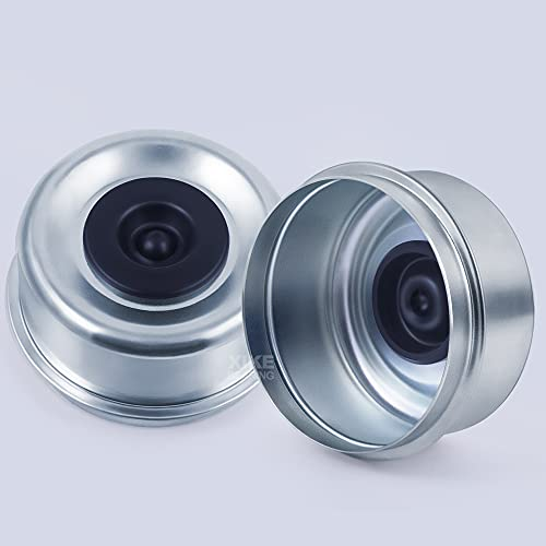 XiKe 2 Set 2.72  OD Dust Grease Cap with Rubber Plugs, Fits Trailer Wheel Hub 7,000 to 8,000 lb Axles.