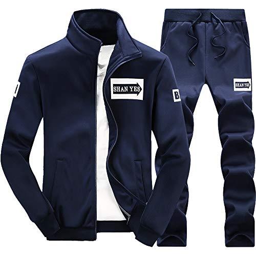 MAYOGO Herren Fleece Trainingsanzug Basic Laufen Sportjacke-und-Hosen Sets Trainingsjacke Übergangsjacke Softshelljacke Sweatjacke Sets (Marine, XXL)