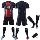 Maillots de Football d'été, Heiliger Tag 10 vêtements de Sport de Football Neymar, 6 Combinaisons d'entraînement pour Enfants à Domicile et à l'extérieur Verratti 9 Cavani 11Di María 20-21-Nav
