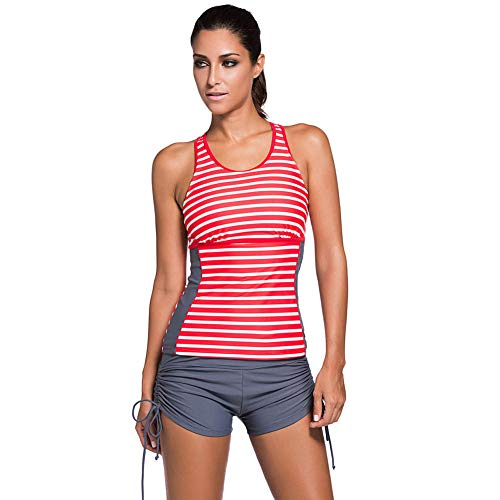 YHYZ Badeanzüge für Damen Bikinis Bikini-Sets Tankinis,Gestreifter Retro-Boxer mit roten und weißen Streifen_XXL,Geeignet für Strandpartyausflüge im Schwimmbad