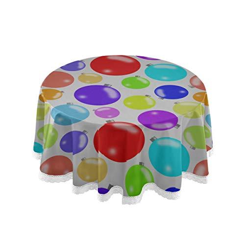 N\A Runde Tischdecke Bunte Kugeln Schwimmen auf dem blauen Billardtisch Pad Cover 60-Zoll-Spitze Stitching Macrame Polyester Dekoration
