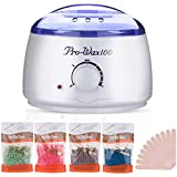 Wax Warmer, Hair Removal Waxing Kit with 4 Hard Wax Beans Target for Facial Bikini Area Armpit- Melting Pot Hot Wax Heater Accessories Total Body Waxing Spa Painless at Home Wax Kit for Women and Men