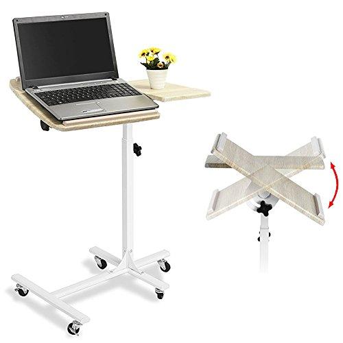 BAKAJI Carrello con Ruote Tavolino Porta PC Notebook Proiettore Laptop con Rotelle Altezza Regolabile 60 x 40 x 70/90cm, Carrello Alto Stand Showroom, Tavolino Scrivania ausiliare