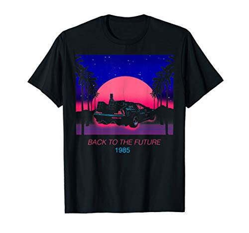 1985 DeLorean Sunset and Palms Art T-shirt for Men and Women