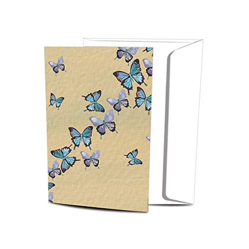 Tree-Free Greetings EcoNotes Stationary- Blank Note Cards with Envelopes, 4  x 6 , Blue Butterflies in Flight, Boxed Set of 12 (FS66475)