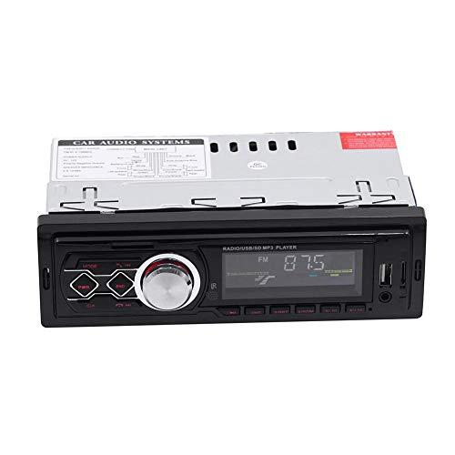 Waroomss - Radio de Coche con Receptor Bluetooth para Coche - Bluetooth estéreo Audio FM Receptor de Entrada AUX SD USB MP3 Radio Player - 1 DIN