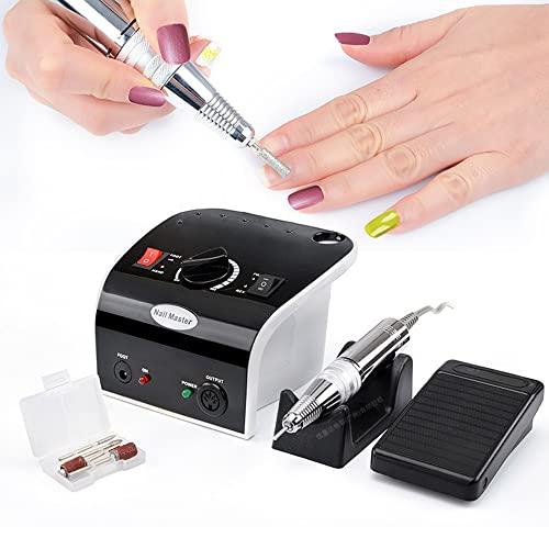 Fresa de uñas, 35000 rpm, lima de uñas eléctrica, silenciosa, kit de manicura eléctrica y pedicura con fresa de uñas, puntas para quitar geles acrílicos, salón de uñas DIY Manicura