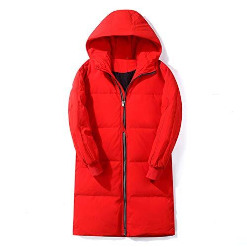 Daunenjacke Herren Winter Mittellange Mode Kapuze Workwear Jacke Liebhaber Warme Jacke,Rot,XL