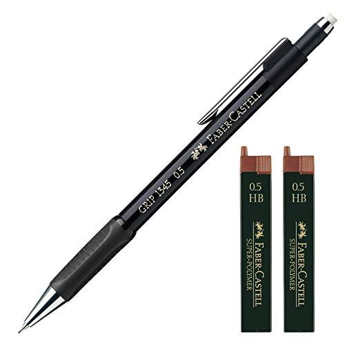 Faber-Castell 1345 99 - Druckbleistift Grip, Minenstärke: 0,5 mm (Schwarz mit 24 Ersatzminen)