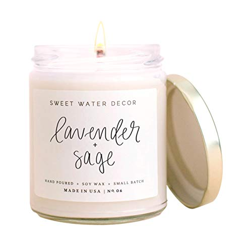 Sweet Water Decor Lavender and Sage Scented Soy Wax Candle for Home | 9oz Clear Glass Jar, 40 Hour Burn Time, Made in the USA