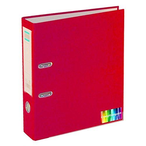 CrazyGadget Aktenordner, A4, 75mm tief, stilvolles Design, Ringbindung, Metallhebel, für Büro, Schule und Zuhause, 5 Stück rot