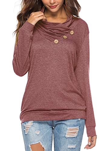 KISSMODA T-Shirts Leichte Damen Plus Size Winter Sweatshirt Tops Red XXLarge