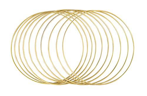 Rayher 252154616 Metallringe, 10 Stück, 20 cm ø, gold beschichtet, Stärke ca. 3 mm, Drahtringe zum Basteln, für Wickeltechnik, Traumfänger, Floristik, Hochzeitskranz, Hoops