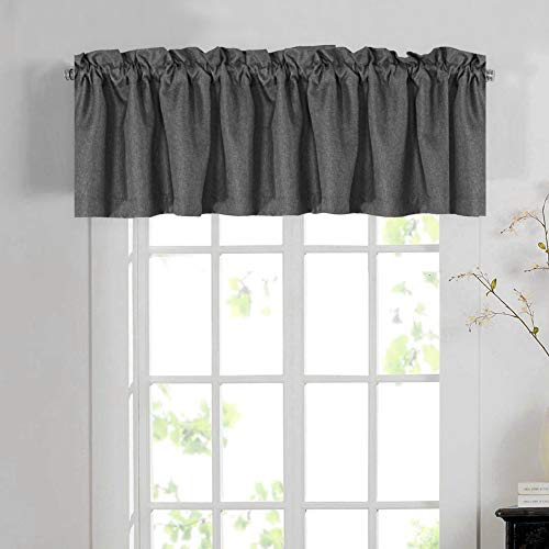H.VERSAILTEX Blackout Linen Curtain Valances for Kitchen/Bathroom/Laundry - (1 Panel) Thermal Insulated Window Valances for Living Room/Bedroom Rod Pocket Casual Curtain 52x18 inch, Charcoal Gray
