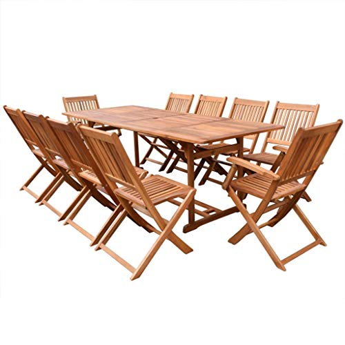 Festnight Garten-Essgruppe 11-TLG. | Holz Sitzgruppe | Tisch und Klappstühle | Gartengarnitur Sitzgarnitur | Gartenset Essgruppe | Terrassenmöbel Gartenmöbel | Gartenmöbelset | Massivholz Akazie