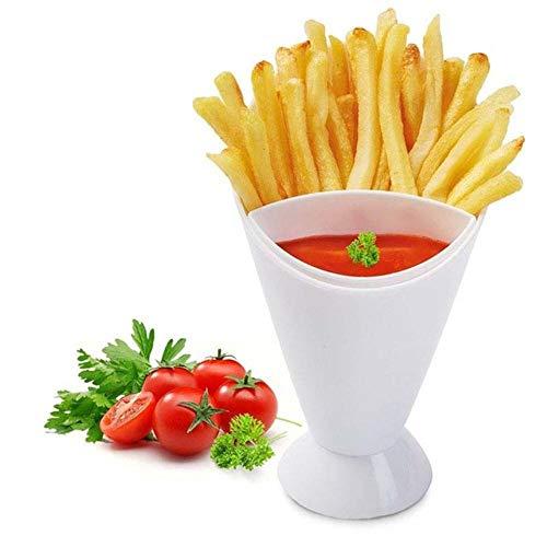 Draagbare Salade Dompelbeker Friet Chips Kegel Diverse Saus Ketchup Jam Dompelbeker Kom Schotel Servies Keukengereedschap, Wit