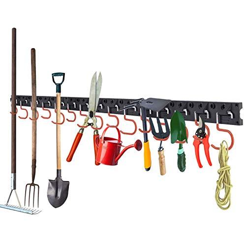LESOLEIL Adjustable Garage Tool Organizer Wall Mount - Wall Holder Garage Storage Heavy Duty Tools Hanger with 3 Rails 12 Hooks