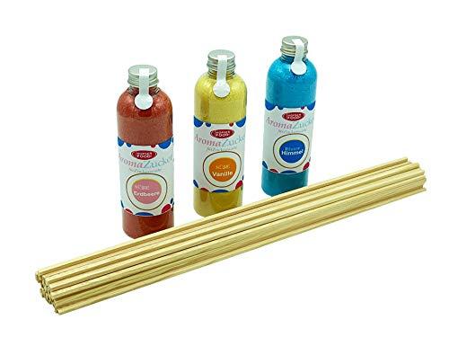 Hopser Food Fun Zucker für Zuckerwatte 3 x 230 Gramm für Zuckerwattemaschine Inklusive 50 Zuckerwattestäbe (Set 1 Erdbeer, Vanille, Kaugummi + 50 Stäbe)