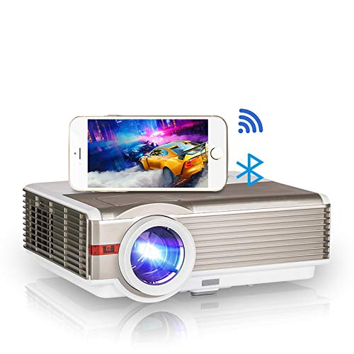 Bluetooth Wifi Smart Projector 6200 Lumens Android HD 1080P Compatible HDMI USB VGA AV Audio Wireless Airplay for Phone Tablet Laptop PC DVD Roku Zoom Keystone for Home Theater Outdoor Movie TV Gaming