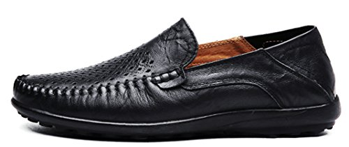 Louechy Men's Liberva Breathable Leather Slip-on Loafers Casual Driver Shoes 8201-46 Black-Punch