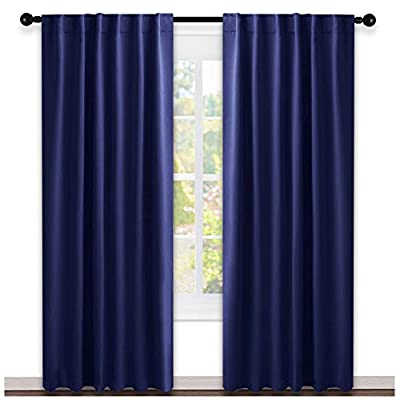 NICETOWN Window Treatment Blackout Curtains and Draperies - (Navy Blue Color) 52 inches W by 95 inches L Each Panel, Set of 2 Panels, Blackout Drape Panels for Nursery