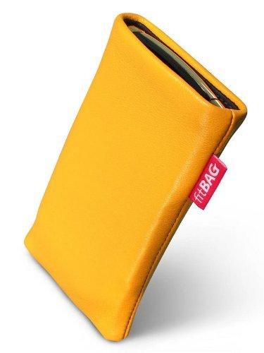 fitBAG Beat Zitronengelb Handytasche Tasche aus Echtleder Nappa mit Microfaserinnenfutter für Nokia 6500 Classic