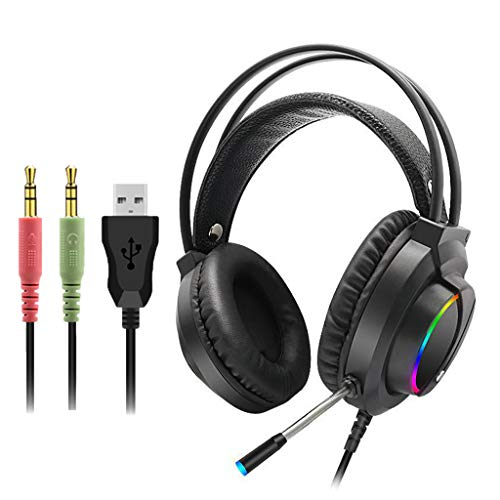 Marxways Gaming Headset 3.5mm Over-Ear Stereo Gaming Headphone LED Light, Bass Surround Microphone with N-Switch for PS4, PC, Xbox One Controller